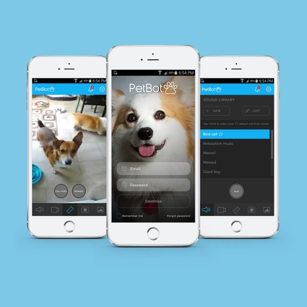 3 PetBot screens on mobile devices.