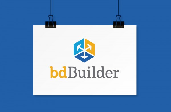 bdBuilder logo on a hanging white piece of paper.