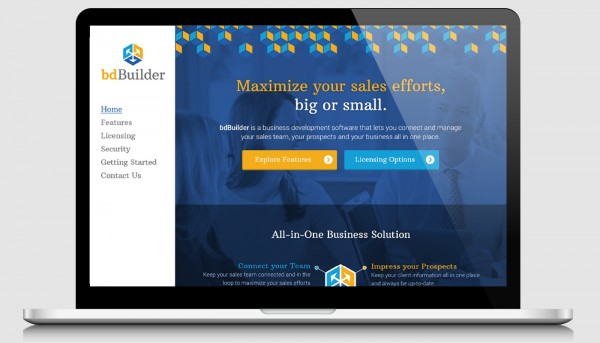 Homepage for bdBuilder's website displayed on a laptop device.