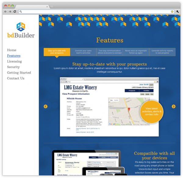 Features webpage on bdBuilder's website.