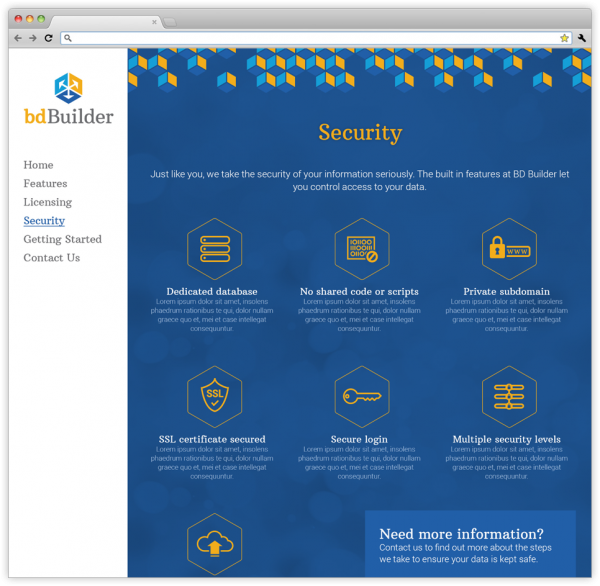 Security webpage on bdBuilder's website.