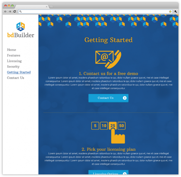Getting Started webpage on the bdBuilder's website.