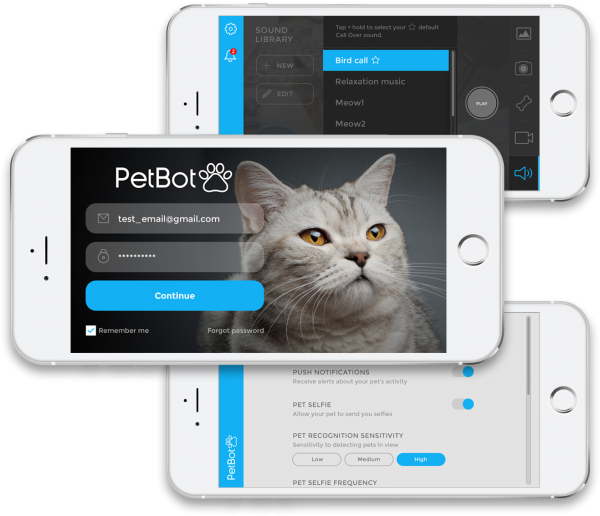 PetBot mobile screens.