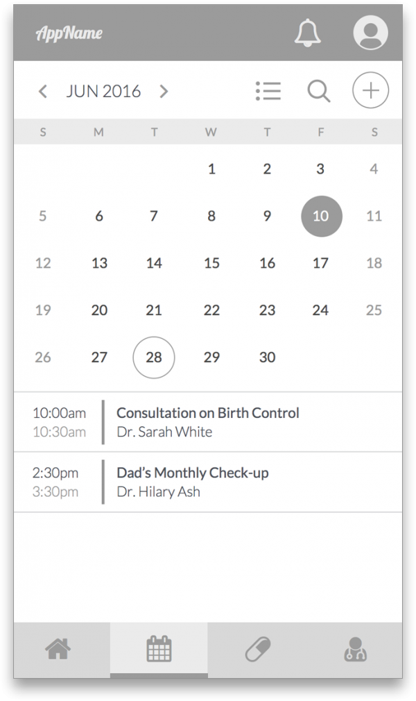 Calendar view of appointments wireframe for the What's Up Doc App.