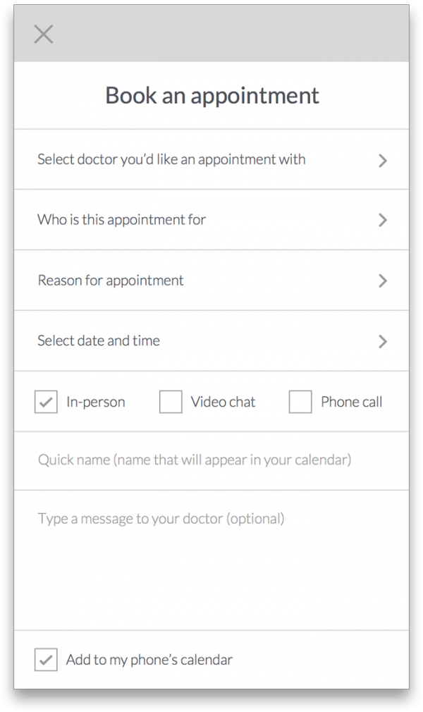 Book an Appointment wireframe for the What's Up Doc App.