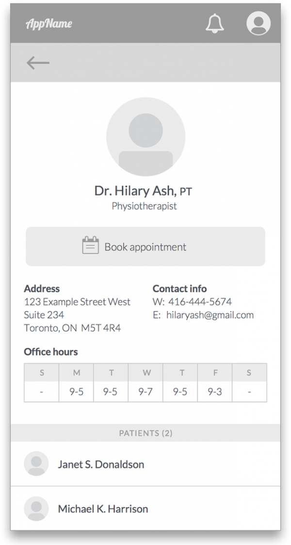 Doctor's profile wireframe for the What's Up Doc App.