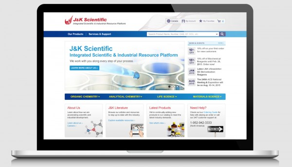 J&K Scientific homepage design displayed on a laptop screen.