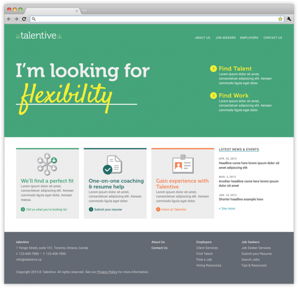 The homepage on Talentive's website, with a green hero background.
