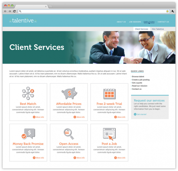 Client Services webpage on Talentive's website.