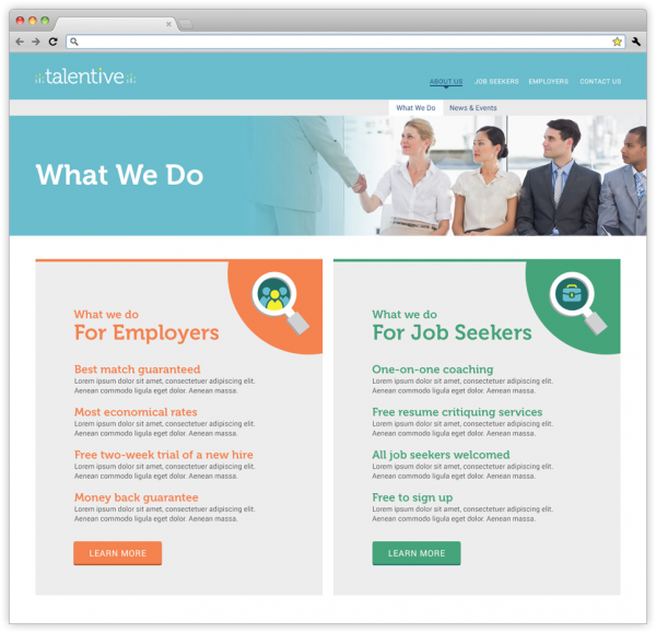 What We Do webpage on Talentive's website.