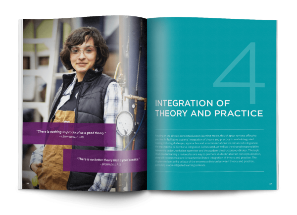 An open book featuring the spread design of a new section, featuring chapter 4 Integration of Theory and Practice in the HEQCO handbook.