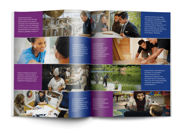 An open book featuring a spread design in the HEQCO handbook.