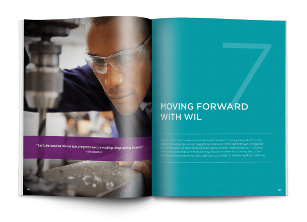 Open book featuring the spread design for section 7, Moving Forward with WIL in the HEQCO handbook.