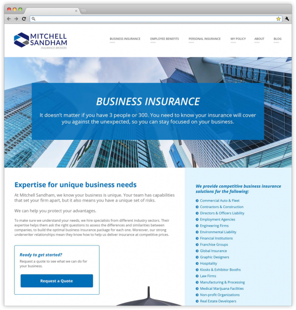 Business Insurance page on the new Mitchell Sandham website.