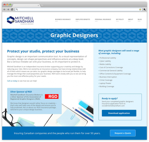 Graphic Designers webpage on the new Mitchell Sandham website.