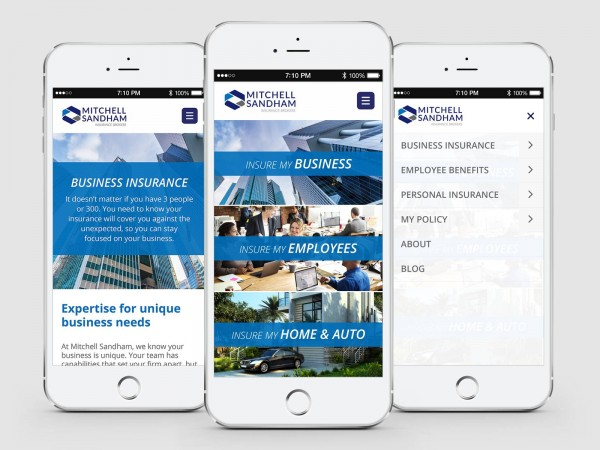 3 different screens of the new Mitchell Sandham website displayed on mobile devices.