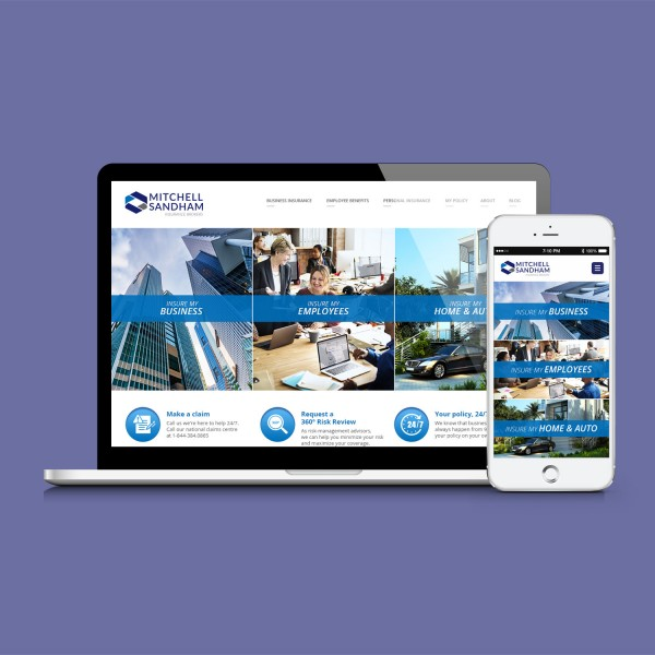 The homepage of the Mitchell Sandham website displayed on a laptop mockup and a mobile mockup on a solid purple background.